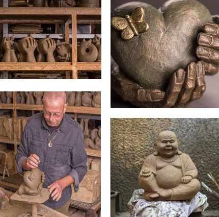 Cremation urns sculpted by hand
